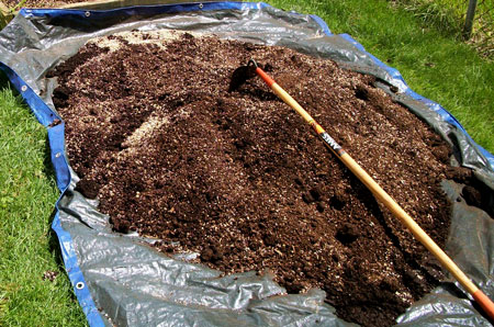 Place all your ingredients on a tarp and mix together to start creating your super soil