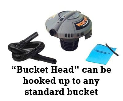 Bucket head attachment - create a wet/dry vacuum with any standard bucket